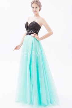 Exquisite Sweetheart Neckline A-line Floor Length Black And Blue Military Ball Gowns