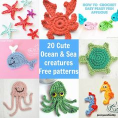 20 easy cute free ocean and sea creatures crochet applique free patterns