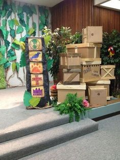 """Safari jungle VBS - good ideas to """"dress up"""" boxes for base camp Deco Jungle, Jungle Party, Safari Party, Safari Theme, Jungle Theme, Jungle Decorations, Map Decorations, Everest Vbs, Hawaian Party"""