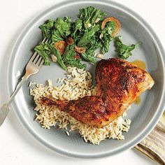 Roasted Chicken with Mustard Greens (Cumin & Chili Rice) 1tsp cumin seeds 1tsp oil 1/2tsp red pepper flakes (salt) cook in a pan medium heat 2mins add 3/4c lg white rice and 1-1/4 chicken broth reduce heat cover and cook for 15mins
