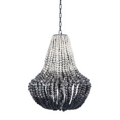 Image of South African Ombre Grey Clay Beaded Chandelier (2 Available)