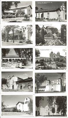 c.1940s Burton Frashers: Ten Scenic Views of the California Missions.