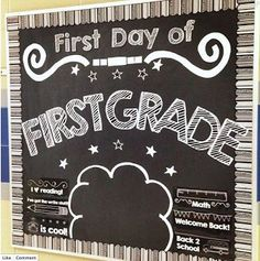 First Day Chalkboard Bulletin Board Set. Students stand in front of the board for a great photo op! Available for all kindergarten, first grade, and second grade.