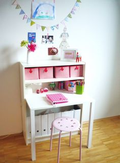 this looks like it might be in a little girl's room, but I like all the storage in it