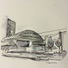 Line drawing using pen and water, Gmex Manchester. Hilton/Beetham tower in the background. By Tom Quigley