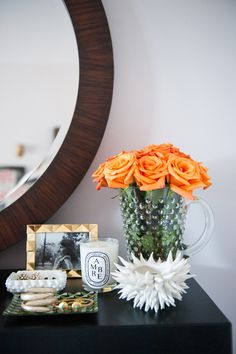 vanity corner, fresh flowers