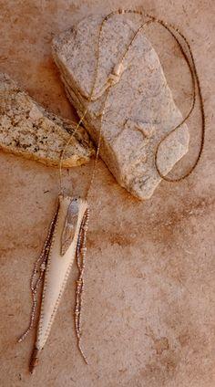 Desert Talismans - Handstitched elkhide amulet necklace