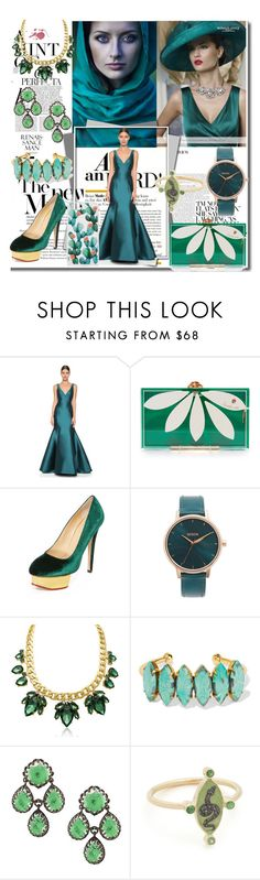 """""""Be Stylish in Green!!"""" by stylediva20 ❤ liked on Polyvore featuring Whiteley, Monique Lhuillier, Charlotte Olympia, Nixon, Elizabeth Cole, Holly Dyment and Sonix"""