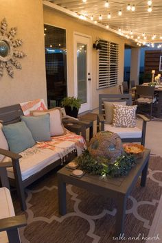 Coastal Summer Patio Decor - Rustic touches and a little whimsy bring this beautiful backyard patio to life for a summer party, night or day! More Nice Pins Press Outdoor Rooms, Outdoor Living, Outdoor Decor, Outdoor Patio Rugs, Patio Decks, Home Decor Furniture, Outdoor Furniture Sets, Furniture Design, Furniture Layout