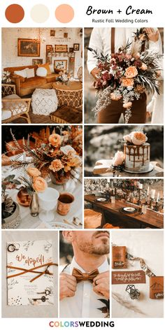 Top 8 Rustic Fall Wedding Color Ideas Brown & Cream Wedding: brown bowtie, wedding invitation with brown ribbons, wooden table and chairs, cream wedding cake Wedding Color Pallet, Rustic Wedding Colors, Fall Wedding Colors, Fall Wedding Decorations, Wedding Color Schemes, October Wedding Colors, Wedding Ideas For October, Cream Wedding Colors, Fall Wedding Table Decor