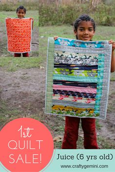 Crafty Gemini | A Quilt for Puppy the Cat- by Juice (age 6) | http://craftygemini.com