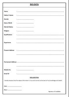 image result for bio data form maximum word pad