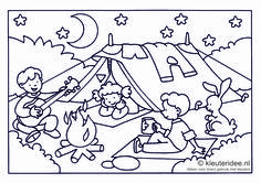 Kleurplaat camping voor kleuters ,thema kamperen,  kleuteridee , preschool camping coloring, free printable.