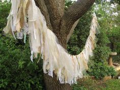 Decorating With Burlap and tulle | ... Decor, Fabric Garland, Shabby Cottage Chic, Bridal Shower Decor