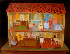 Vintage Doll House Interior with Family by annmillerpaints on Etsy, $550.00