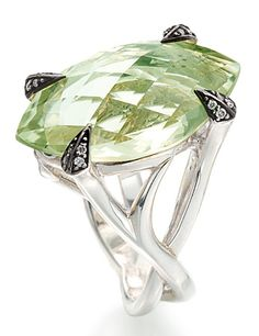Rapture ring with green amethyst by Stephen Webster