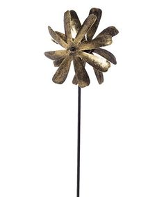 Love this Coral & Yellow Petal Kinetic Garden Stake on #zulily! #zulilyfinds