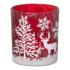 Parlane Winter Forest Glass Tealight Holder (32 RON) ❤ liked on Polyvore featuring home, home decor, xmas, deer home decor, forest home decor, glass home decor and star home decor