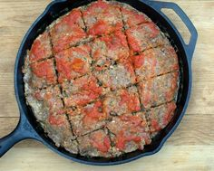 Cast Iron Meatloaf, my go-to meatloaf recipe, tender, moist and full of flavor thanks to milk-soaked bread crumbs and a pile of chopped vegetables that melt into the meatloaf. For Weight Watchers, #PP6. #LowCarb