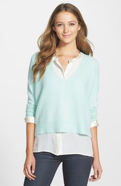 Halogen® Waffle Stitch Cashmere V-Neck Sweater available at #Nordstrom