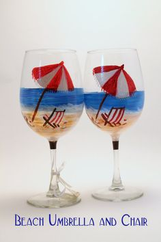 Beach themed Wine Glasses Beach umbrella , beach chairs . Perfect for your vacation house on Etsy, $18.00
