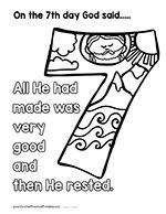 Seven Days of Creation Early Childhood Coloring Sheet for Creation ...