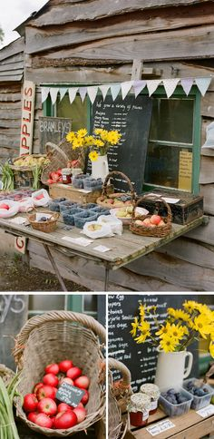 Fresh fruits 'n' flowers stand... I love this pic; reminds me of the honor stand.... rustic and real.