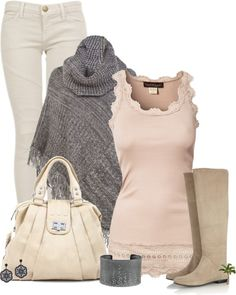 """""""Style the top"""" by cindycook10 ❤ liked on Polyvore - don't think I can pull off the white jeans but love the tank and poncho!"""
