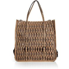 VALENTINO Sun Tan Studded Mesh Leather Bag ($2,796) ❤ liked on Polyvore