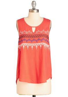 Adventure a Guess Top - Mid-length, Woven, Coral, Embroidery, Casual, Boho, Festival, Sleeveless, Summer