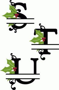Silhouette Design Store - View Design #68407: holly split monograms s-u