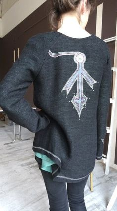Woollen #pullover with #embroidery and application by #GNatelier https://www.facebook.com/GN_design-1617224841891321