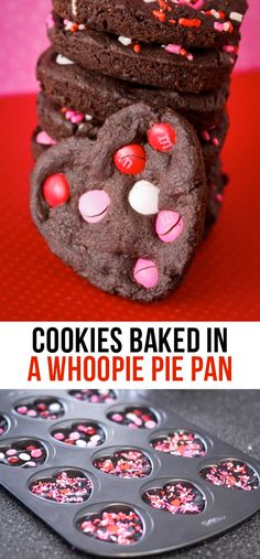 Valentine's Day Chocolate Heart Cookies Made In A Whoopie Pie Pan