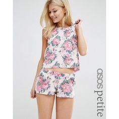 ASOS PETITE Floral Vest & Short Pyjama Set ($24) ❤ liked on Polyvore featuring intimates, sleepwear, pajamas, multi, petite, short pajama set, short sleepwear, petite pajamas, short pajamas and short pyjamas