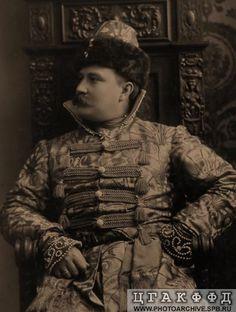 Князь, адъютант великого князя Николая Николаевича-младшего П.Б.Щербатов в костюме боярина XVII века.