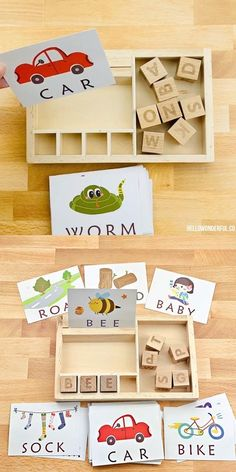 This Montessori Letter Word Matching Game is a fun learning toy for preschoolers to learn letter recognition and words. Toddler Learning Activities, Montessori Toddler, Montessori Activities, Infant Activities, Toddler Toys, Fun Learning, Kindergarten Reading Activities, Montessori Materials, Baby Toys