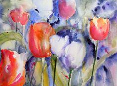 Tulpen machen guten Laune (c) Aquarell von Hanka Koebsch