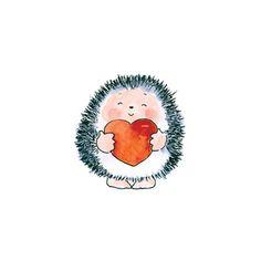Doodle Drawings, Animal Drawings, Cute Drawings, Hedgehog Art, Cute Hedgehog, Valentines Watercolor, Watercolor Cards, Illustration Art, Illustrations