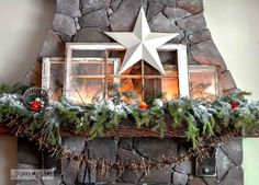 Old window mantel / Merry Upcycled Christmas! Ideas for making salvaged Christmas decor out of old stuff you may already have! By Funky Junk Interiors for #eBay