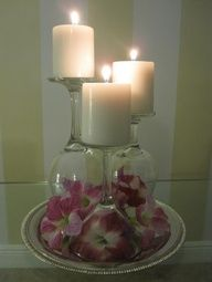 STUDIO647_____________________: Easiest DIY Ever: Candles x Wine Glasses - Neat idea for decorating!