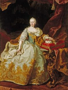 'Maria Theresa Archduchess Of Austria, Holy Roman Empress'. One of the problems facing the modern costume specialist attempting a big pannier dress is in finding materials with the correct crispness and body. The silk used for the Empress's gown was evidently very stout (the metal embroidery would be heavy) but because silk, however thick, is light in weight the skirt would have had air in its folds and hence been able to float over its supporting pannier.