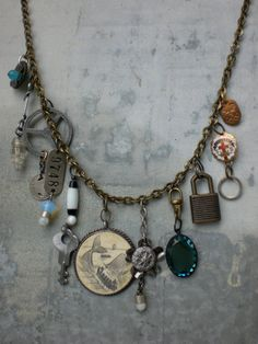Charm necklace with scrimshaw by UNHINGEDnecklace on Etsy, $65.00