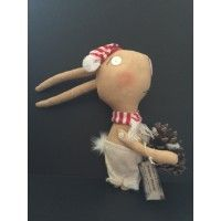 Winter Bunny, a Primitive Folk Art