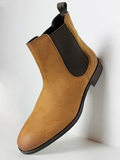 Vegan Vegetarian Non-Leather Mens Chelsea Boots Faux Suede Brown