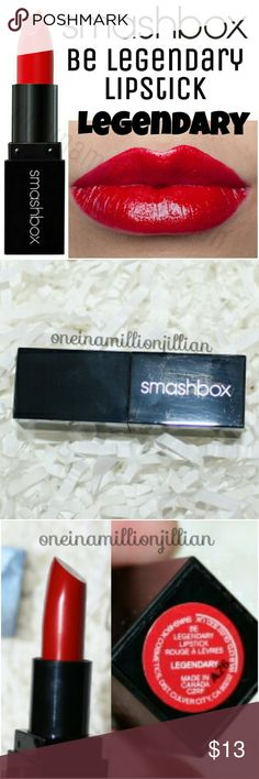 Smashbox Be Legendary Lipstick - Legendary New - Never Used  .08oz (not quite full sz) - Authentic (fs = 1.0oz)  Color: Legendary (true red cream)  A pigment-loaded lipstick that glides on rich, vibrant color in just one swipe.  Be Legendary Lipstick saturates your lips with show-stopping color while softening & protecting them with shea butter & vitamins C & E. This lipstick stays color-true in photographs & feels lightweight yet lush on lips.  check out the rest of my page for more great…