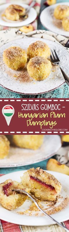 Hungarian Plum Dumplings (Szilvas Gomboc) - Cooking The Globe Austrian Recipes, Croatian Recipes, Hungarian Recipes, Hungarian Desserts, Hungarian Cake, Hungarian Food, Great Desserts, Dessert Recipes, Dessert Bread