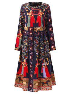418e897add Gracila Loose Print Folk Plate Buckle Long Sleeve Women Dresses