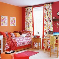 The warm colors create a room that looks a lot smaller than it really is.