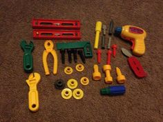 Radio Shack Race Car Workshop tools.  31 pieces. drill wrenches pliers level etc #RadioShack