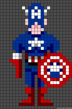 Captain America perler bead pattern - Crochet / knit / stitch charts and graphs